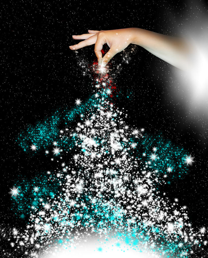 Christmas Tree. A hand from the night sky sprinkles stars to create a Christmas tree