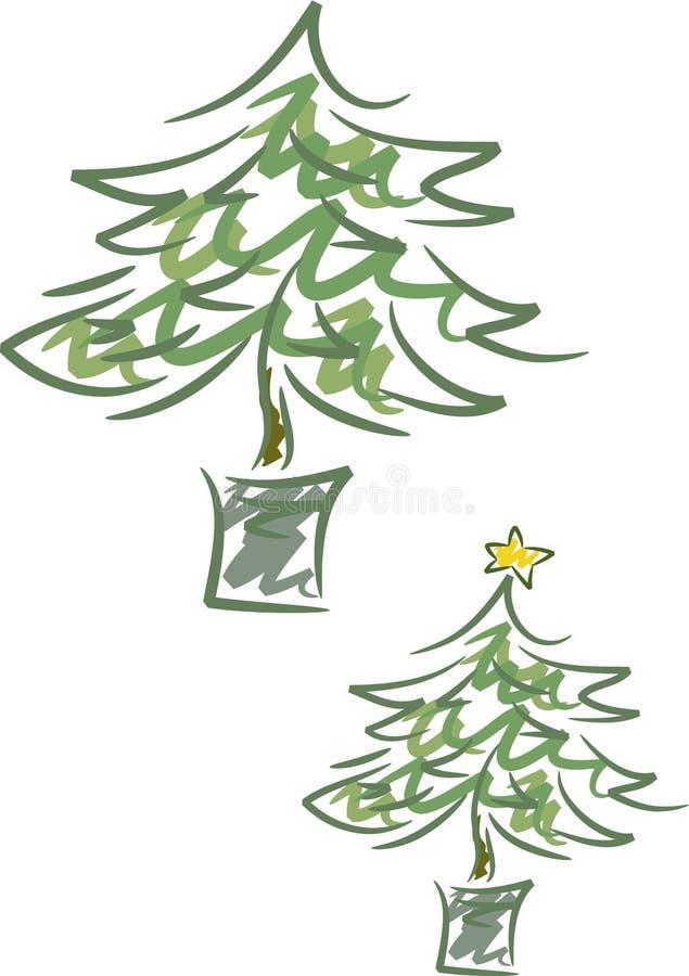 Christmas Tree. Simple line-art illustration of a (christmas) tree in a pot royalty free illustration