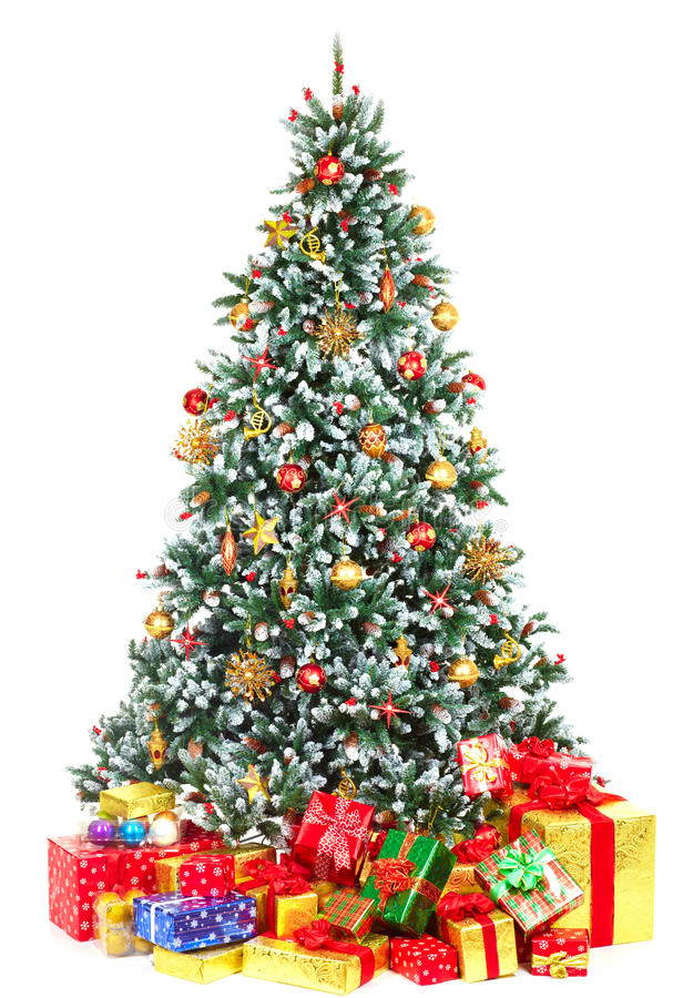 Christmas Tree. And Gifts. Over white background
