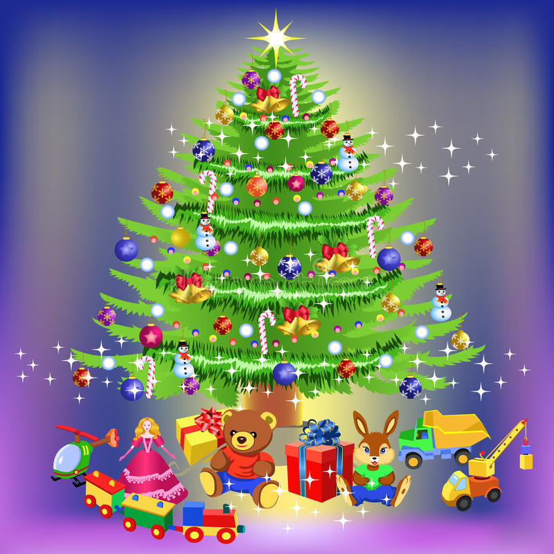 Download Christmas tree stock vector. Image of green, card, teddy - 11539044