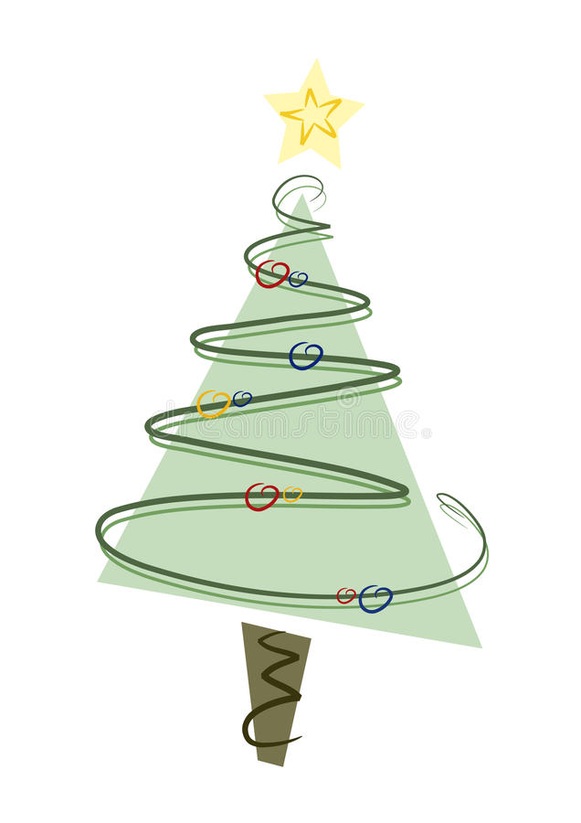 Christmas Tree. Abstract modern christmas tree with ornaments and star vector illustration
