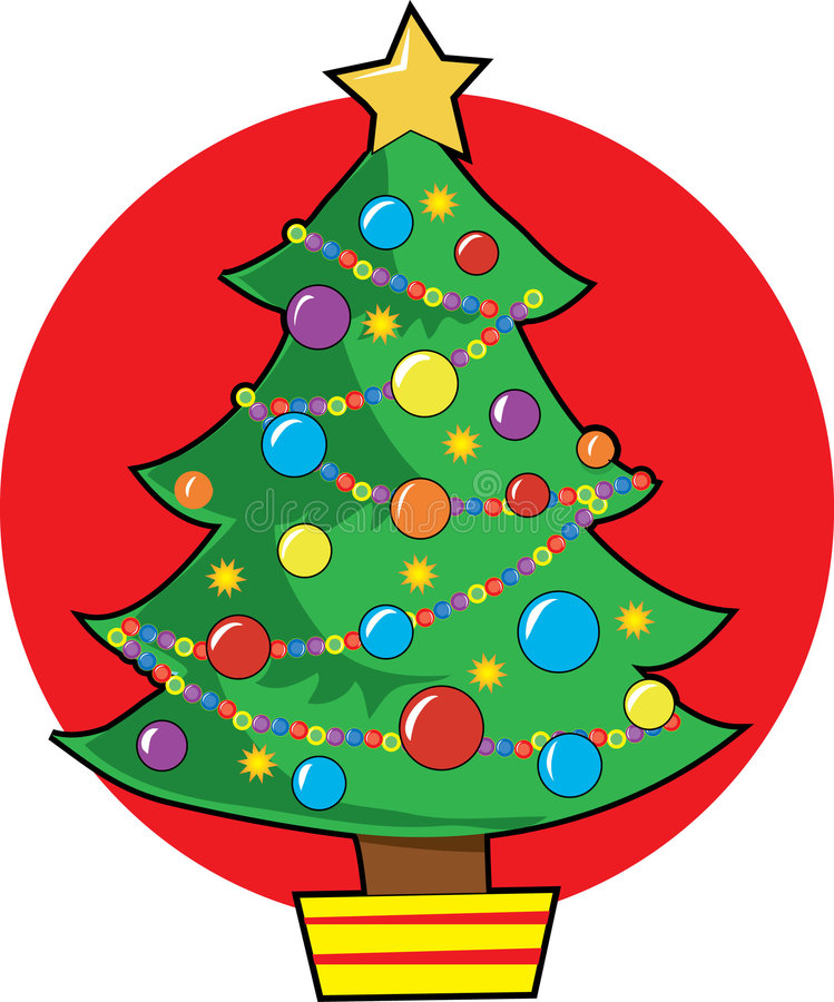Christmas Tree. With lights and ornaments stock illustration