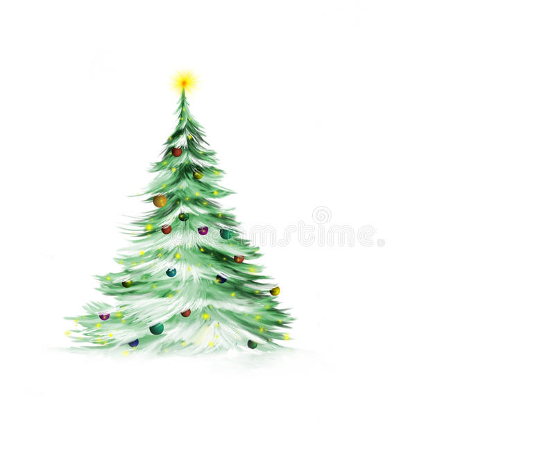 Christmas tree. In the snow scene illustration isolated on white background with copy space vector illustration