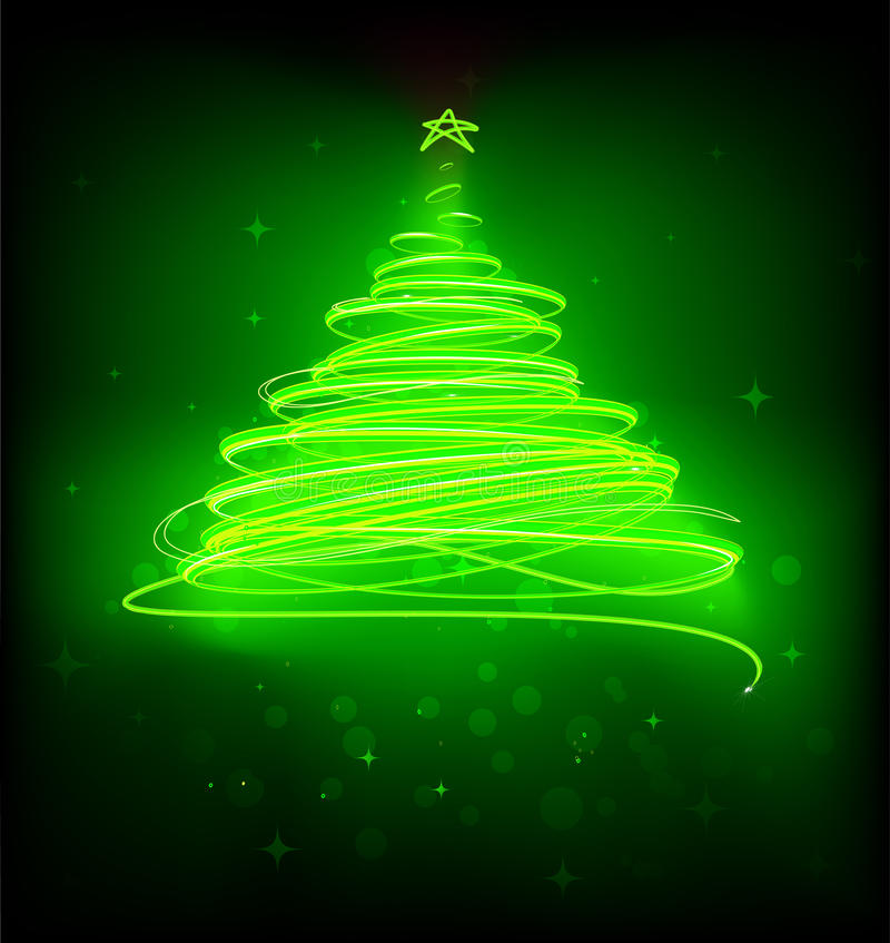 Christmas tree. Vector illustration of green Abstract Christmas tree on the black background stock illustration