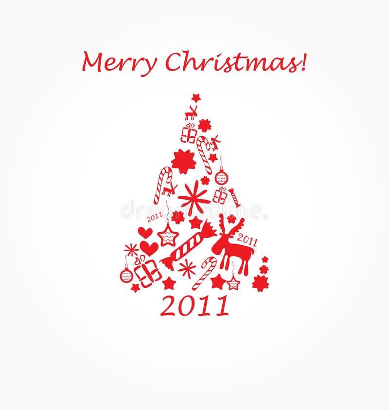 Christmas tree. Postcard with abstract christmas tree royalty free illustration