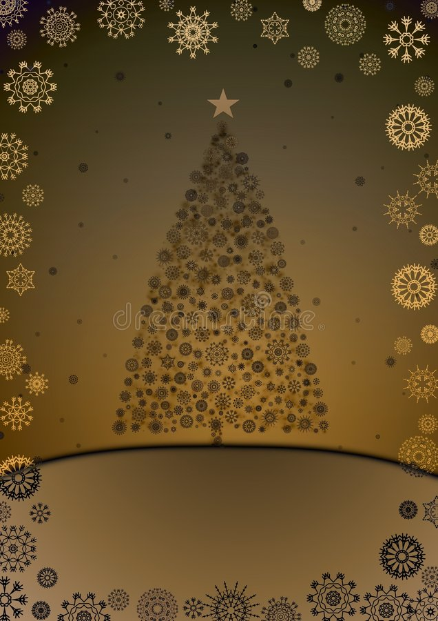 Christmas Tree. Illustration of a christmas tree made from snowflakes with a snowflake border royalty free illustration