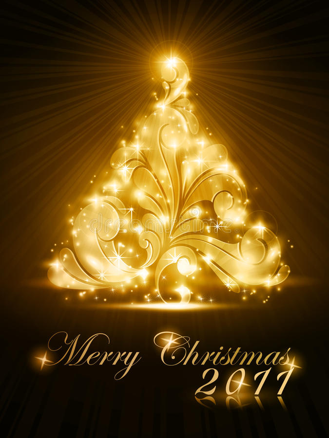 Christmas tree 2011 card with golden glow royalty free illustration