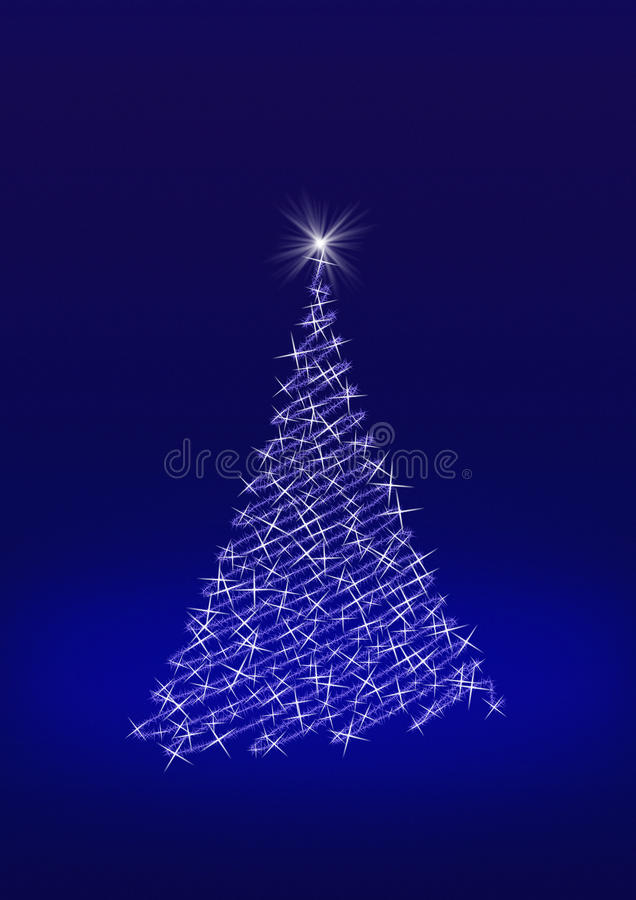 Christmas Tree. Formed from stars on blue background illustration and royalty free illustration