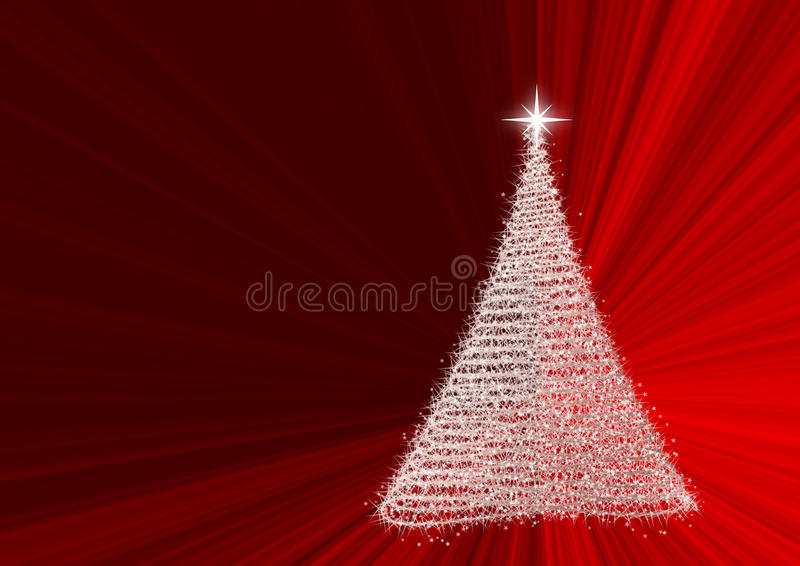 Christmas tree. Formed from stars on red background illustration and stock illustration