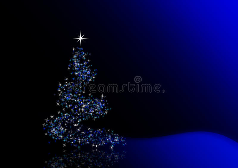 Christmas tree. Formed from blue stars on blue background - illustration and stock illustration