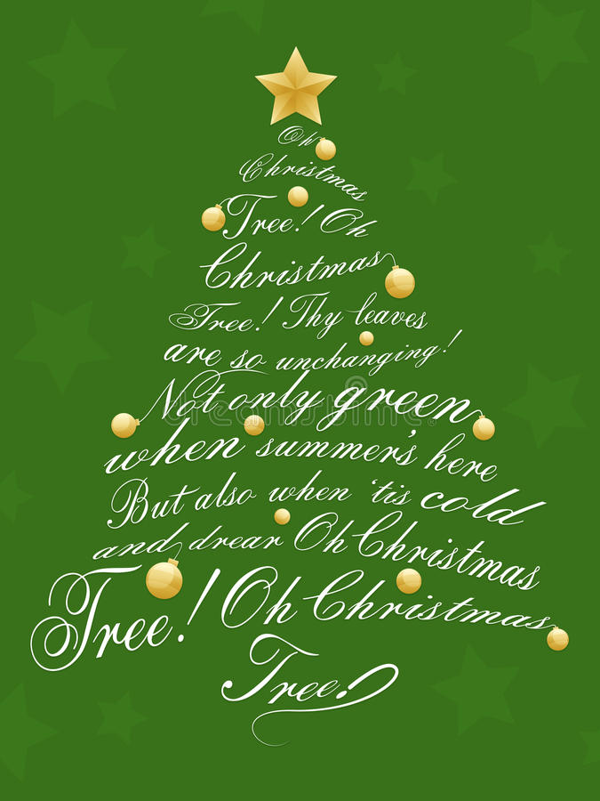 Christmas Tree. An illustration of a Christmas Tree made up of christmas carol lyrics. Background placed on separate layer