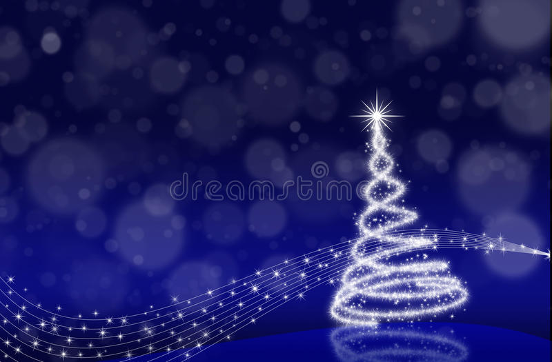 Christmas tree. Music christmas tree on blue background with defocused lights royalty free illustration
