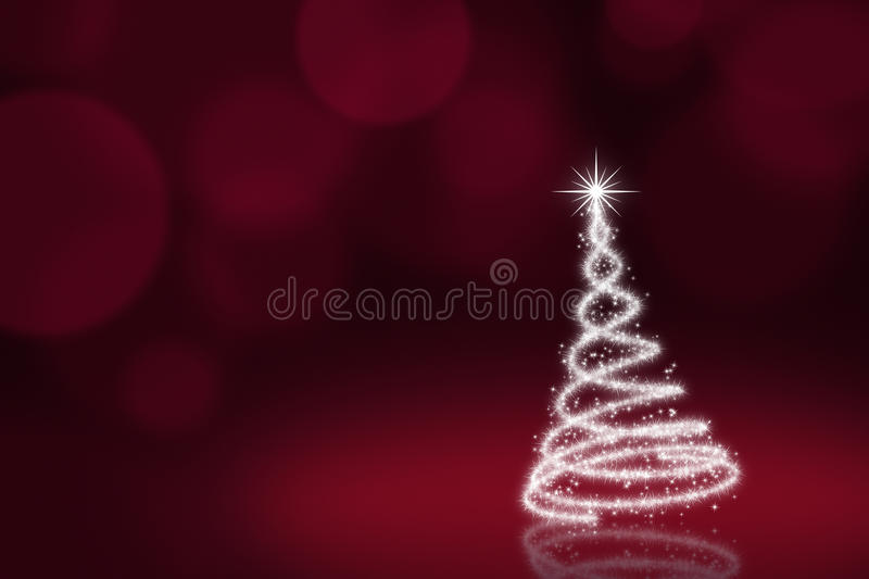 Christmas tree. White christmas tree on red background with defocused lights stock illustration