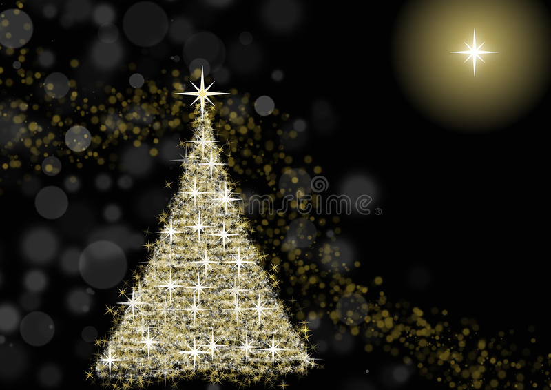 Christmas tree. Golden christmas tree on black background with north star and defocused lights vector illustration