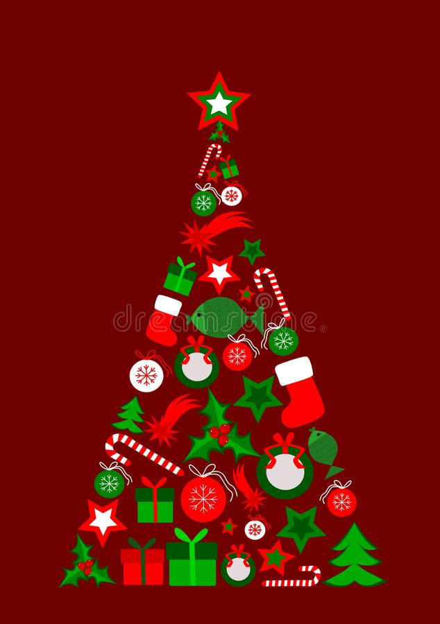 Christmas tree. Abstract christmas tree composed of christmas elements royalty free illustration