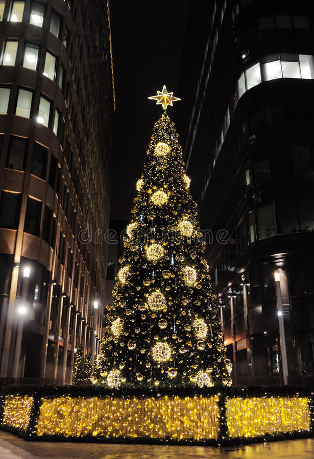 Christmas tree. Beautiful christmas tree outdoor in city royalty free stock images