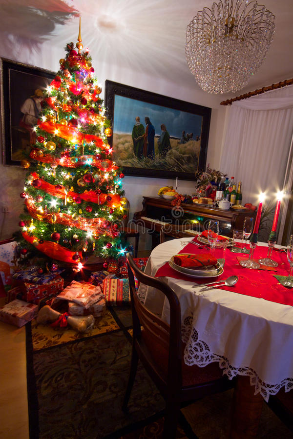 Download Christmas tree stock photo. Image of room, interior, fireplace - 26495682