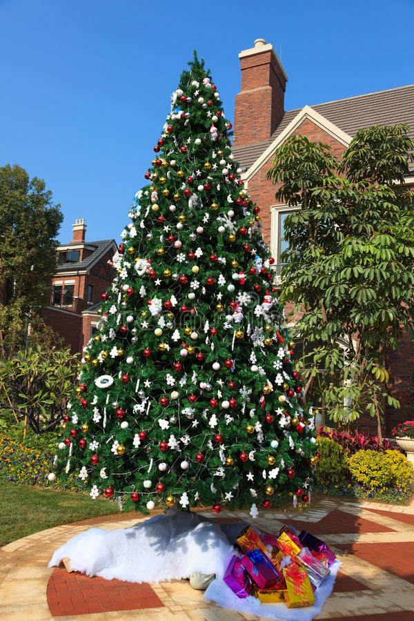 Download Christmas tree stock photo. Image of park, giftwrap, present - 26542338