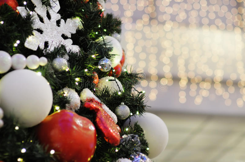 Christmas tree. In shopping mall stock image