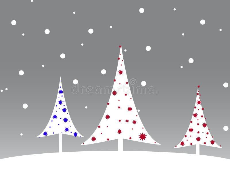 Christmas tree. Christmas postcard with Christmas tree and snowflakes vector illustration