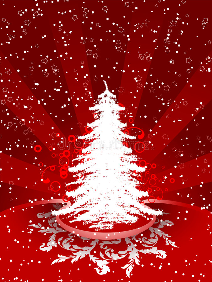 Christmas tree. Abstract winter background with christmas tree and rays