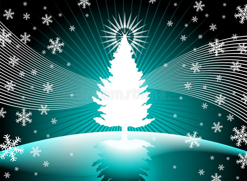 Christmas tree. With snowflakes blue background stock illustration