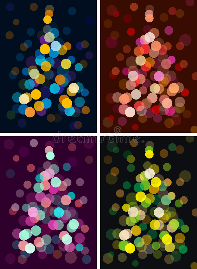 Christmas tree. With defocused lights. vector
