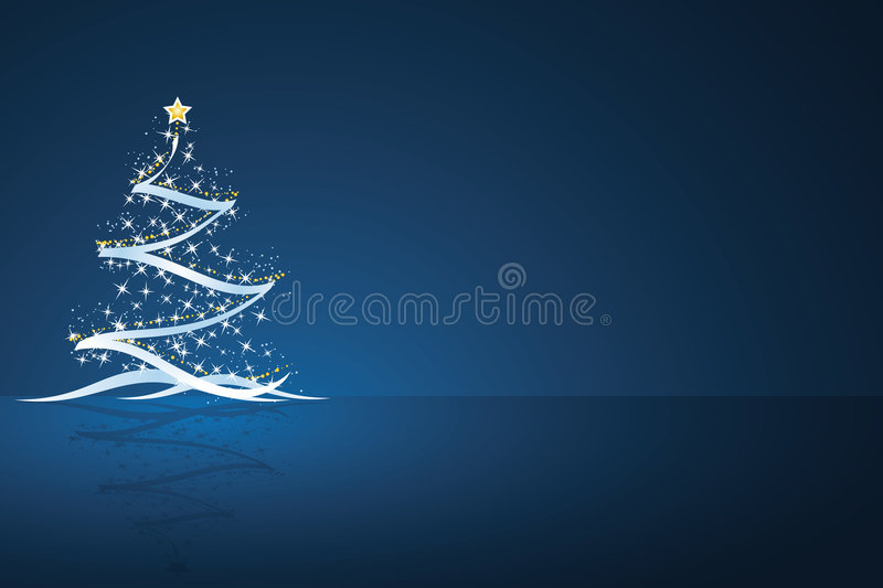 Christmas tree. With star and decoration in dark blue