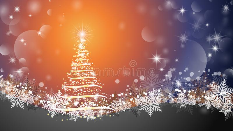 Christmas tree abstract background. Sparkling Christmas tree as symbol of Happy New Year and Merry Christmas holiday celebration. stock illustration