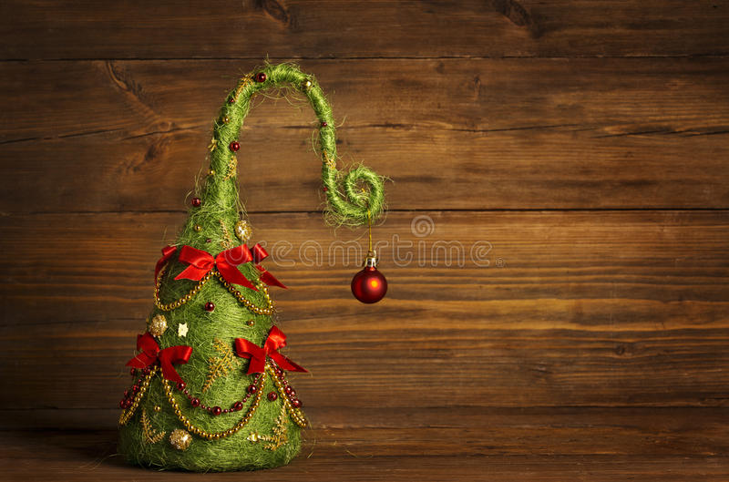 Christmas Tree Abstract Decoration, Grunge Wooden Background stock photography