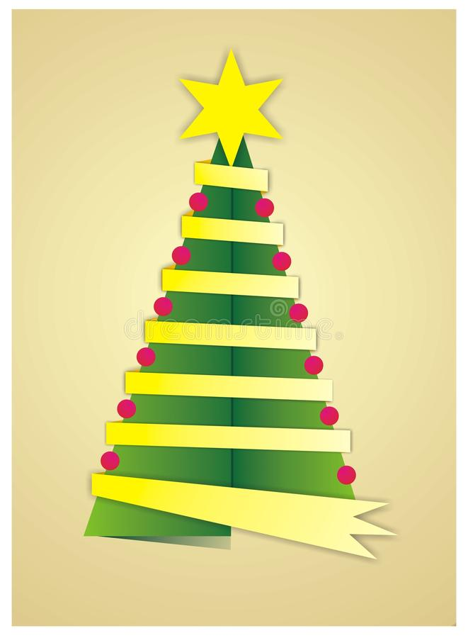 Christmas tree. Abstract illustration of a Christmas tree with a star and a gold ribbon tree lined royalty free illustration