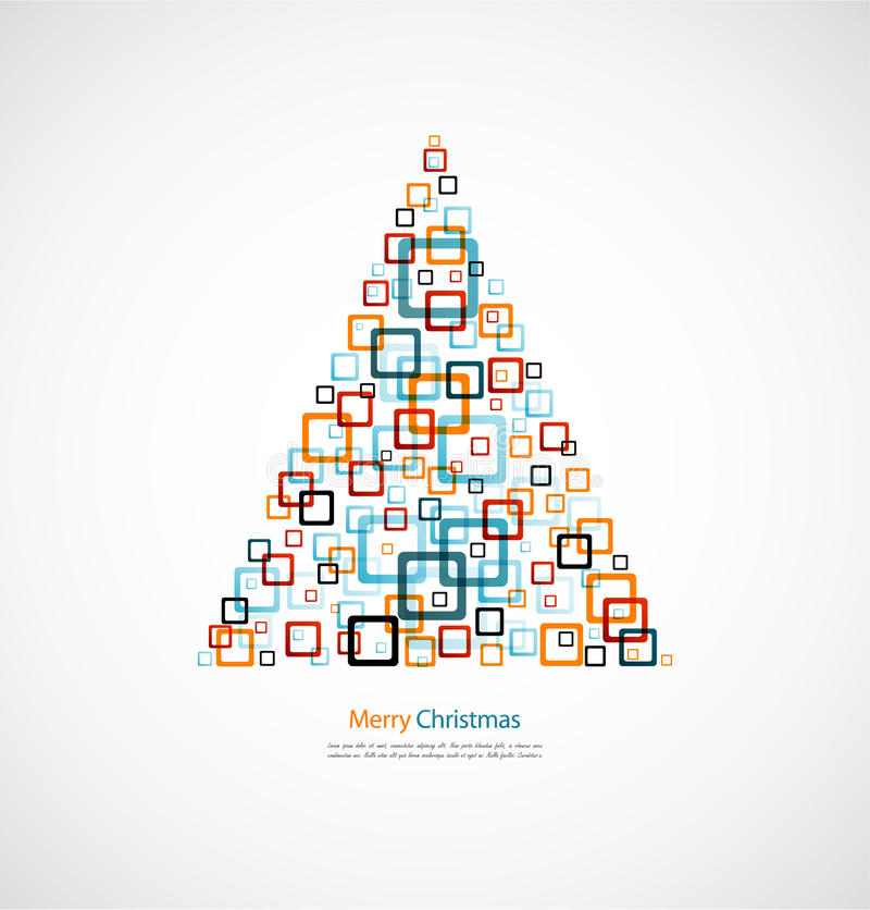 Christmas tree abstract square design. Ornament background vector illustration
