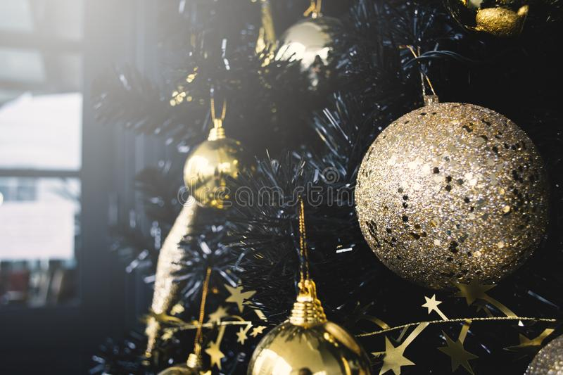 Christmas tree with accessory ,Merry Christmas and Happy New year concept royalty free stock photos