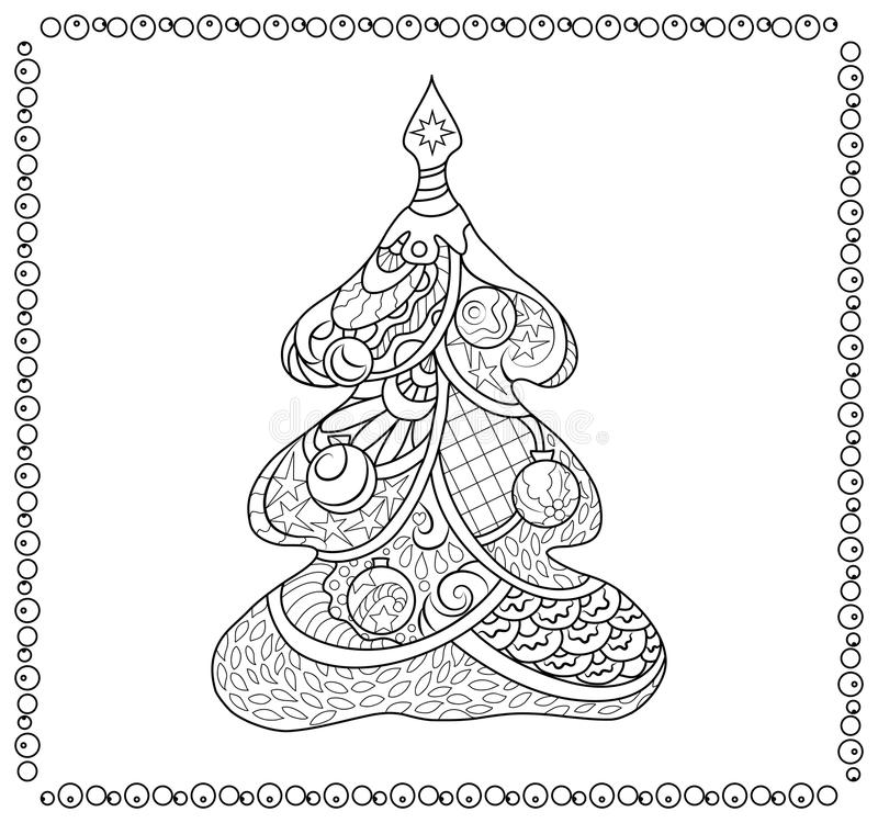 Christmas Tree Adult Coloring Page Stock Illustration - Illustration ...
