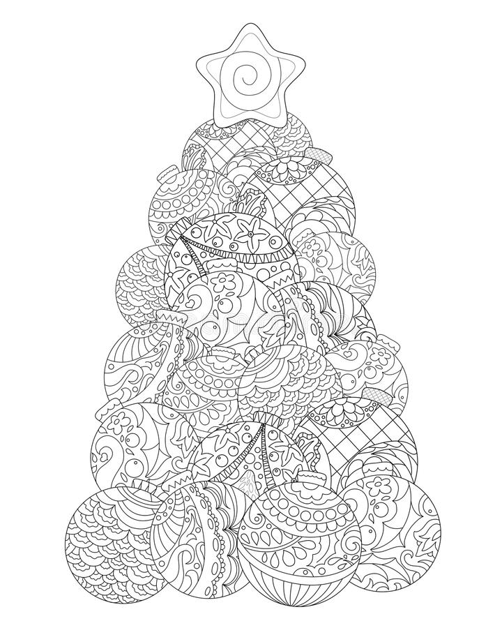 Download Christmas Tree Adult Coloring Page Winter Holiday Illustration Stock