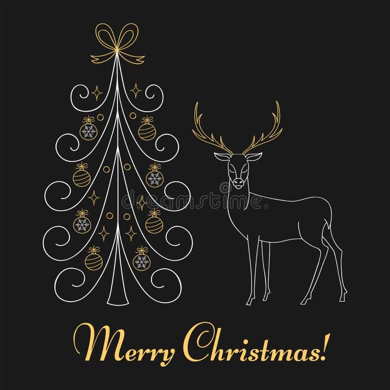 Free Christmas Tree And Reindeer Stock Photography - 81833902