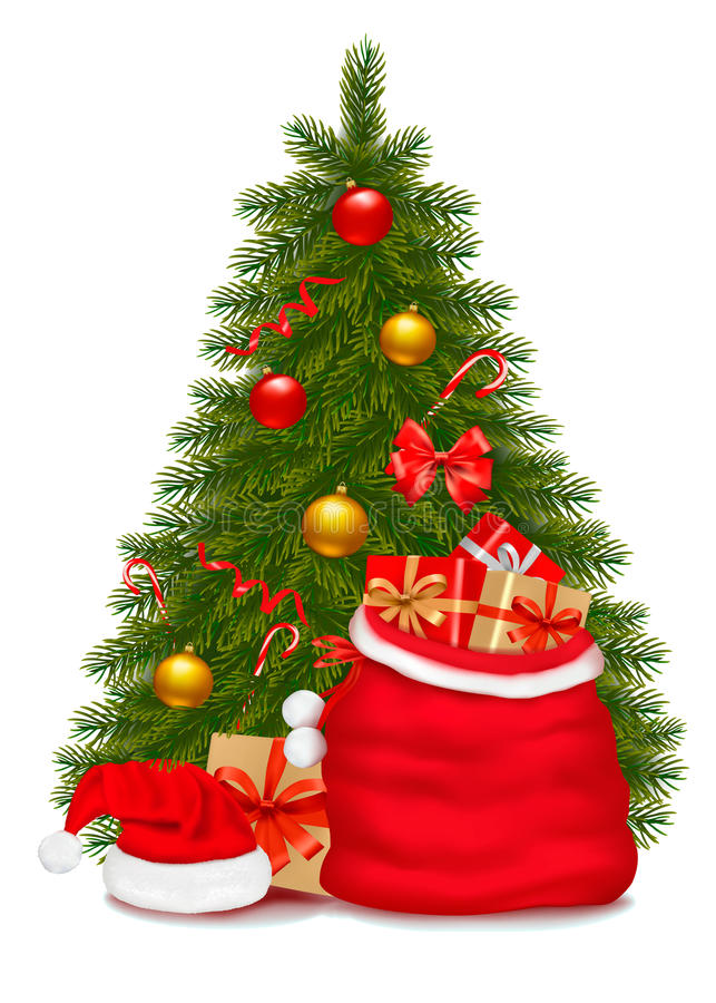 Free Christmas Tree And Santa Bag With Gifts. Vector Royalty Free Stock Photography - 22368897