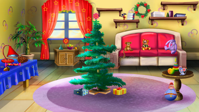 Christmas Tree in Baby Room Interior. royalty free illustration
