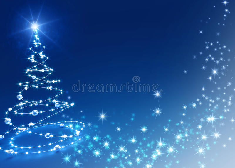 Christmas tree background. Abstract Christmas tree on shiny blue background royalty free stock photos