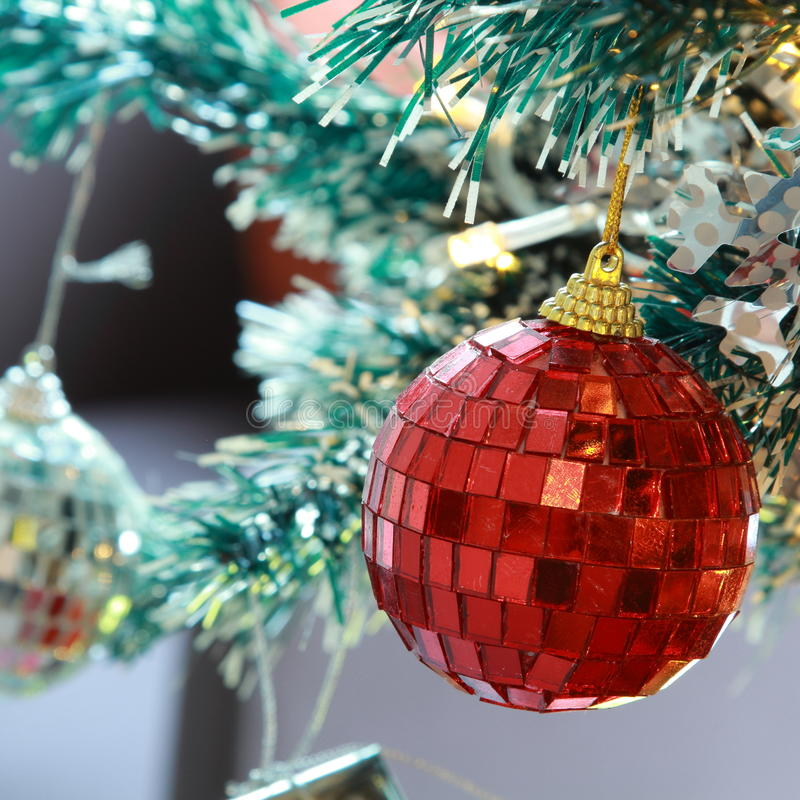 Christmas tree background with baubles and color balls. Christmas tree background with baubles and color balls decoration royalty free stock photography