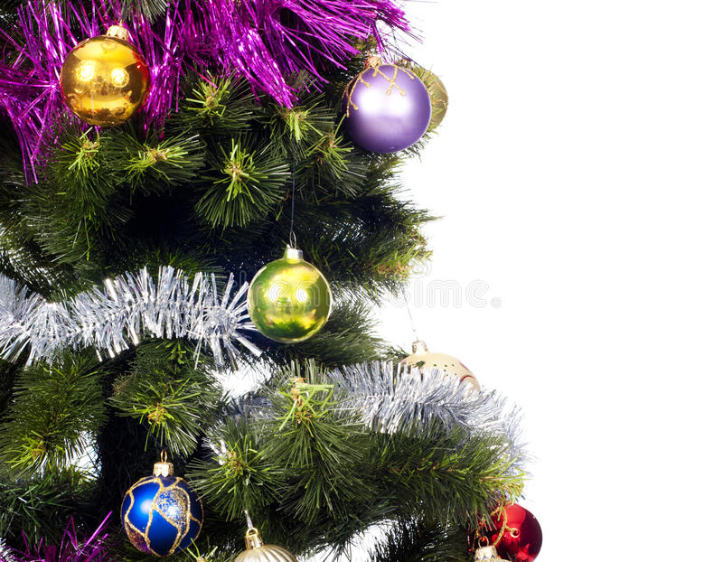 Christmas Tree background with colored toys