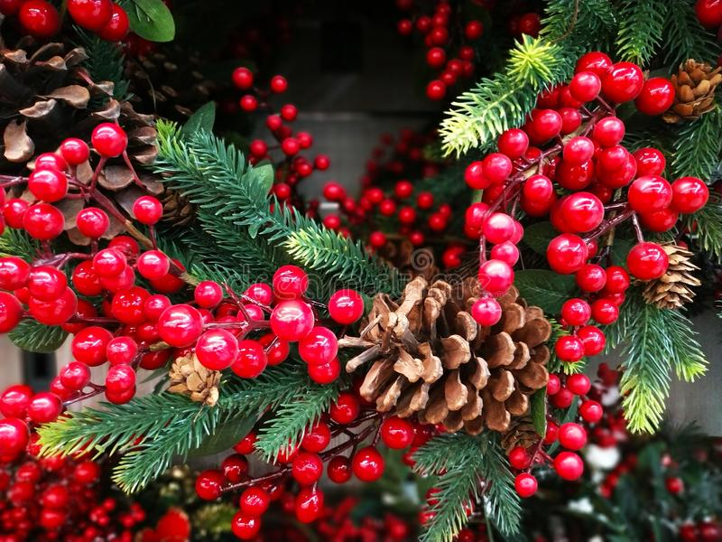 Christmas tree background with decoration. Red stock photo