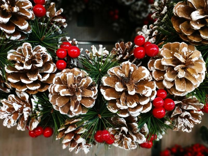 Christmas tree background with decoration. Red royalty free stock photography