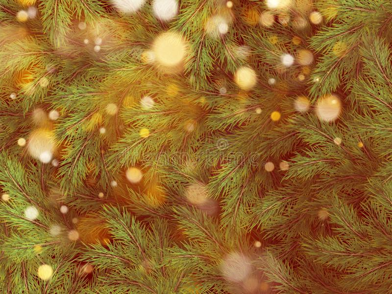 Christmas tree background decorations with blurred, sparking, glowing light. Happy New Year template. EPS 10 royalty free illustration