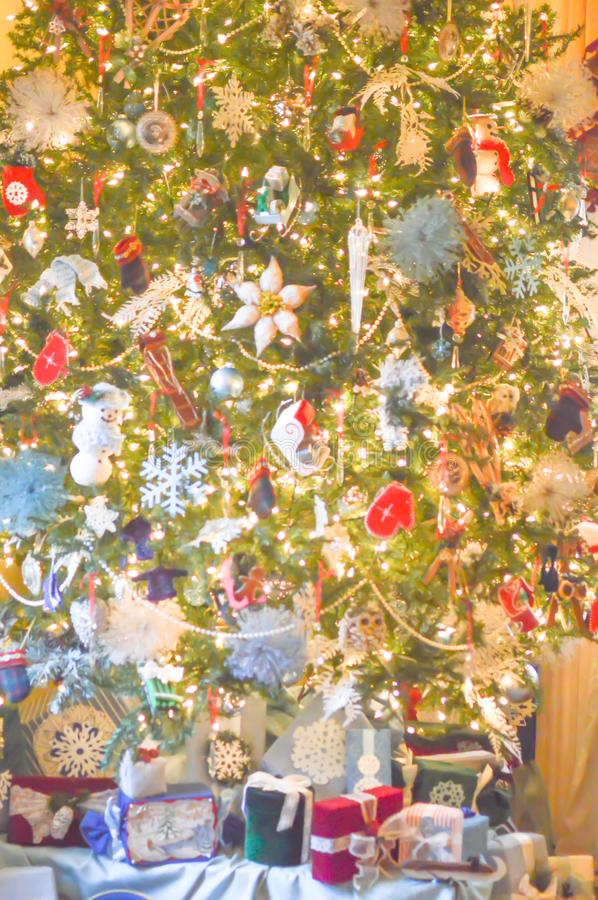 Christmas Tree Background with Ornaments and Presents stock photo