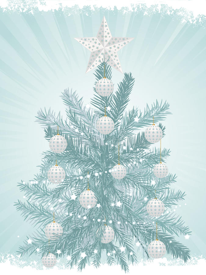 Christmas tree background and white baubles2 vector illustration