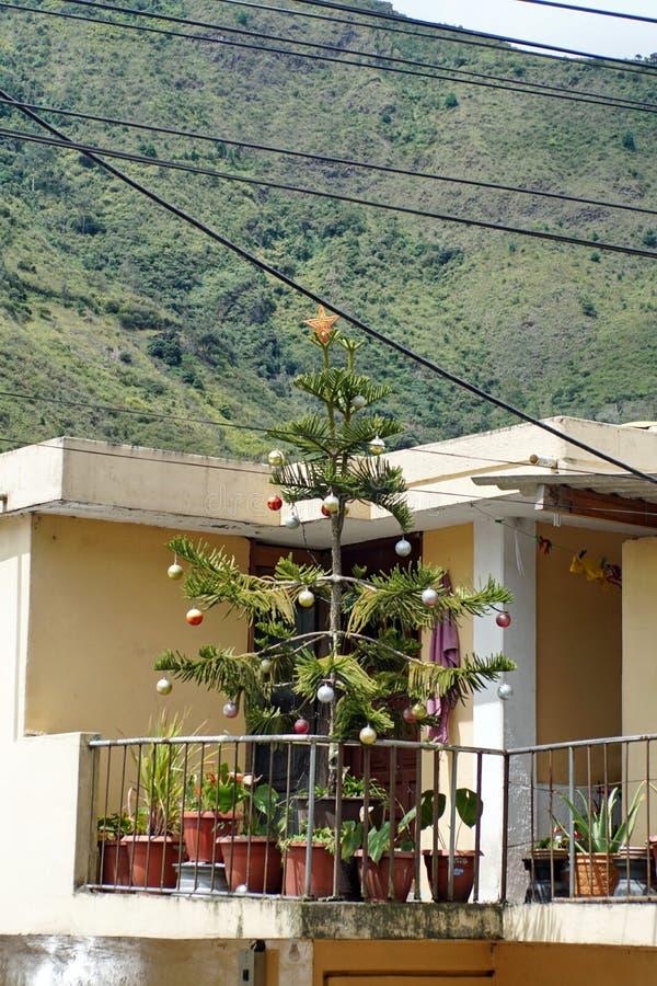Christmas tree on a balcony royalty free stock photography
