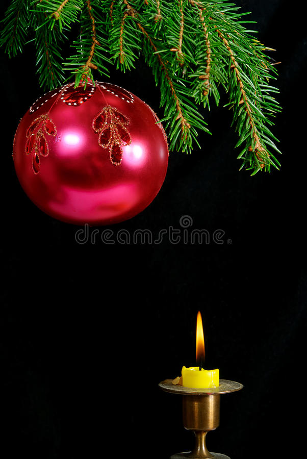 Free Christmas Tree,ball And Candle Stock Image - 11828001