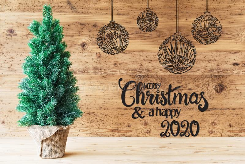 Christmas Tree, Ball, Merry Christmas And A Happy 2020 stock illustration