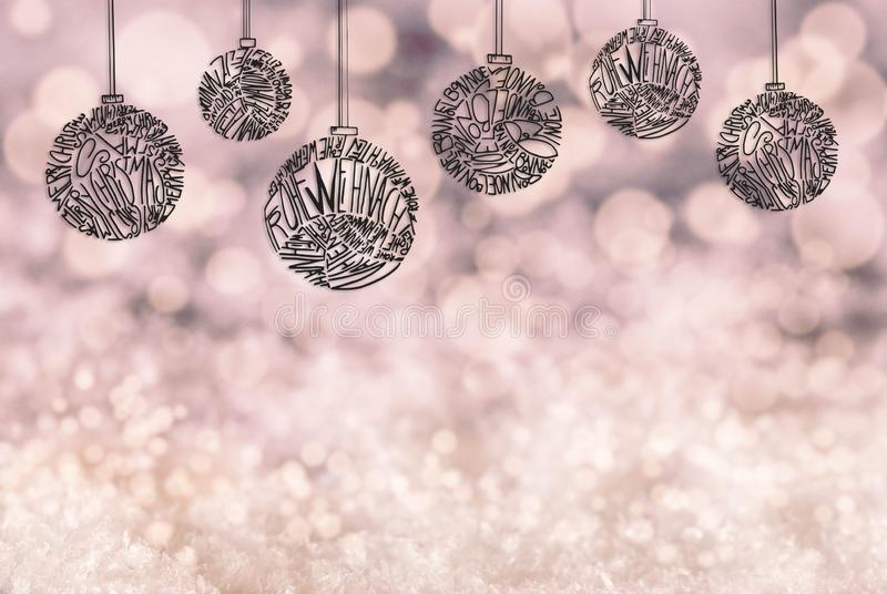 Christmas Tree Ball Ornament, Copy Space, Light Purple Background, Snow royalty free illustration